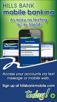 Hills Bank mobile banking is as easy as texting b to 55658. Enroll at hillsbankmobile.com today!