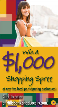 Win a 1000 shopping spree from Hills Bank by entering at hillsbankshoplocally.com!