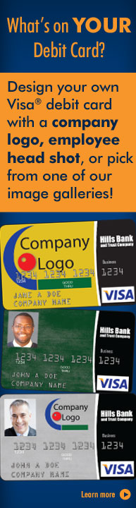 What's on your debit card? Design your own Visa Debit Card with a company logo, employee head shot, or pick from one of our image galleries at www.pictureperfectdebitcard.com.